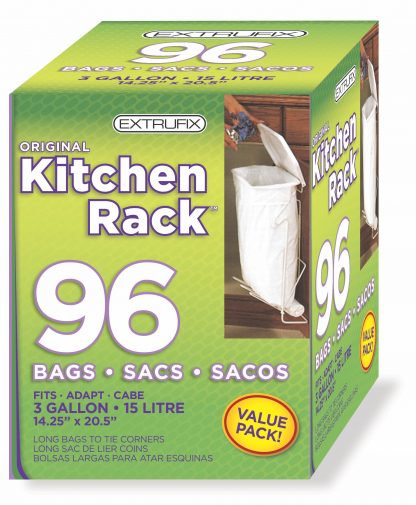 Extrufix Original Kitchen Rack Bags, 3 Gallon, 15 Litre, 96 Count